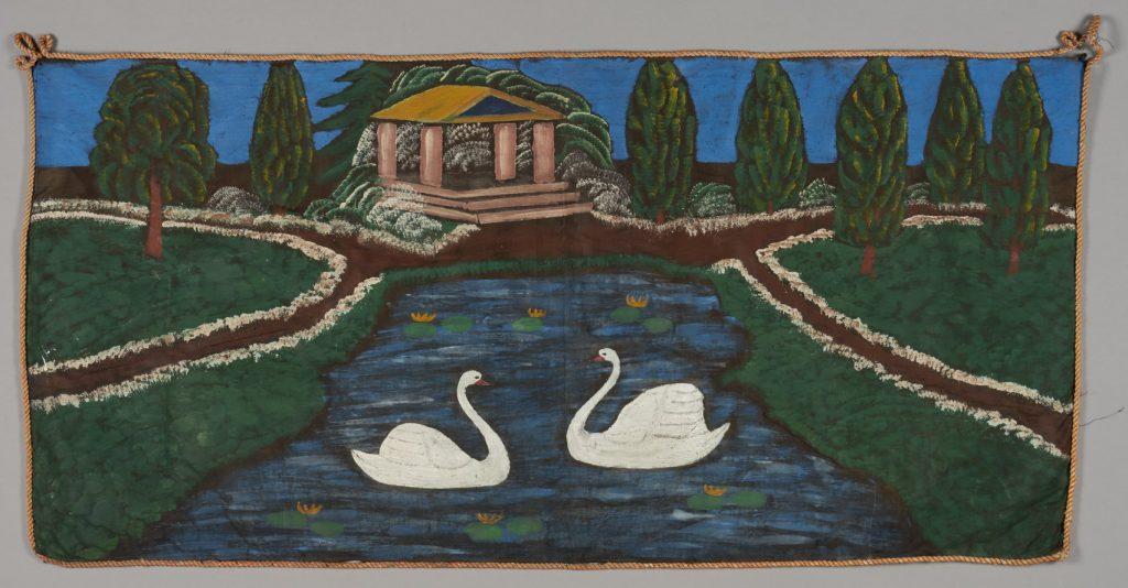 """""""Łabędzie na stawie parkowym"""", ok. 1960 r., znal. Wielki Komórsk, Kociewie, satyna, olej, 69x143 cm"""