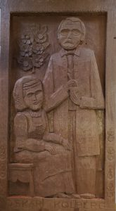 """Oskar Kolberg"", Feliks Maik, 1974 r., drewno, bejca, 42x76 cm"